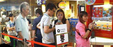 PM Lee in a Hello Kitty queue